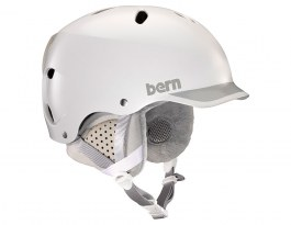 Bern Lenox Ski Helmet - Satin White & Grey Trim