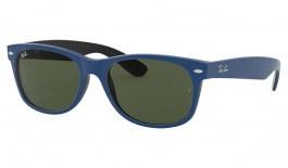 Ray-Ban RB2132 New Wayfarer Sunglasses - Rubber Blue on Shiny Black / Green