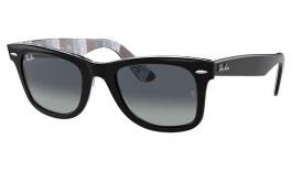 Ray-Ban RB2140 Original Wayfarer Sunglasses - Black on Texture Print / Light Grey Gradient