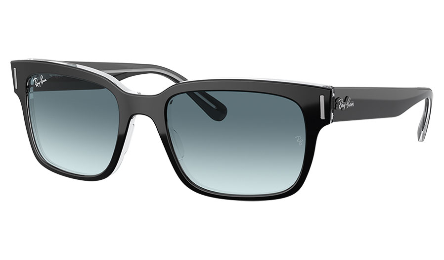 Ray-Ban RB2190 Jeffrey Sunglasses - Black on Transparent / Blue Gradient