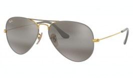 Ray-Ban RB3025 Aviator Sunglasses - Matte Grey & Gold / Grey Silver Bi-Gradient Mirror