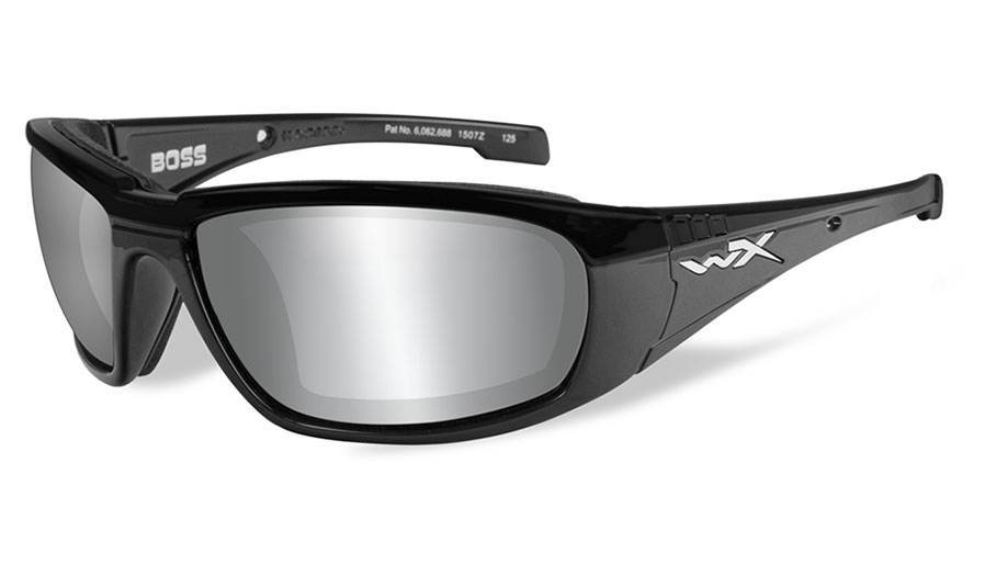 Wiley X Boss Sunglasses - Gloss Black / Smoke Grey Silver Flash