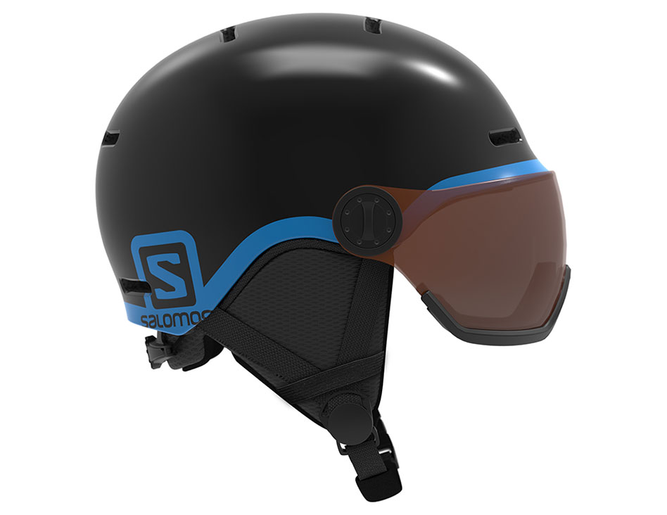 Salomon Grom Visor Ski Helmet - Black / Universal Tonic Orange