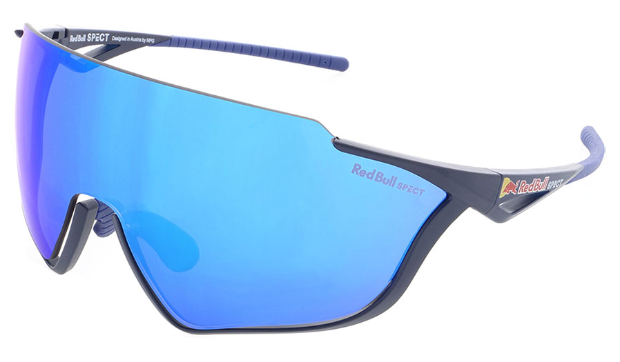 Red Bull Pace Sunglasses - Matte Blue / Smoke Blue Mirror + Transparent