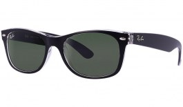 Ray-Ban RB2132 New Wayfarer Sunglasses - Color Mix - Black on Transparent / Green (G-15)
