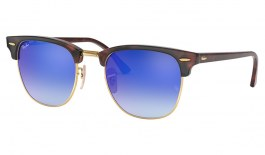Ray-Ban RB3016 Clubmaster Sunglasses - Red Havana / Blue Gradient Flash