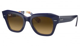 Ray-Ban RB2186 State Street Sunglasses - Blue on Stripes / Light Brown Gradient