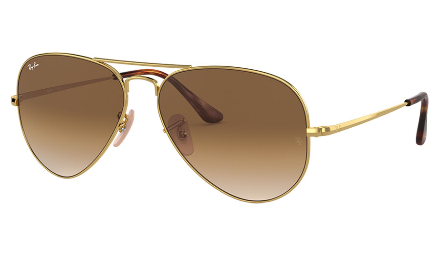 Ray-Ban RB3689 Sunglasses - Gold / Light Brown Gradient