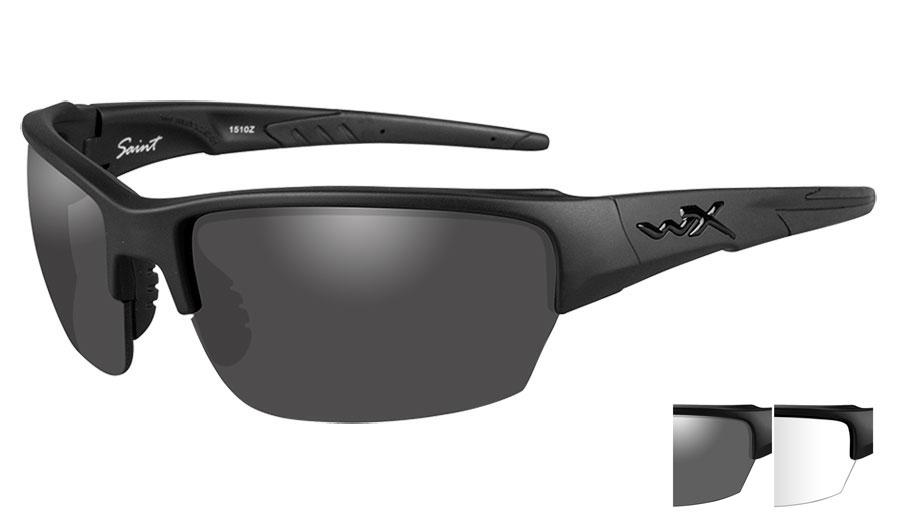Wiley X Saint Sunglasses - Matte Black / Smoke Grey + Clear
