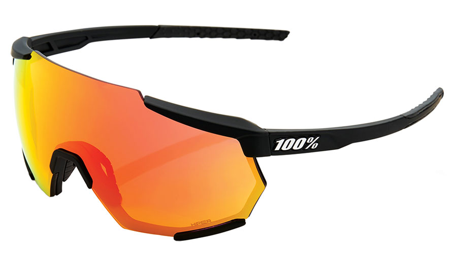 100% Racetrap Sunglasses - Soft Tact Black / HiPER Red Multilayer Mirror + Clear