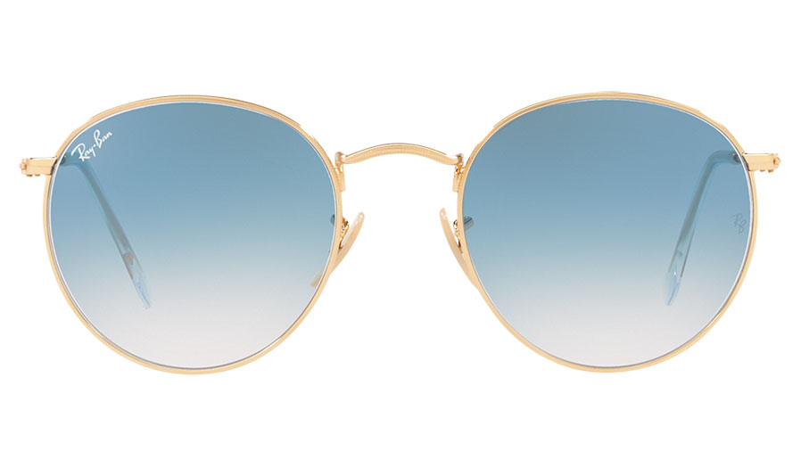 db8bf3584 1. 2. 3. 4. PrevNext. Ray-Ban RB3447N Round Metal Flat Lens Sunglasses -  Gold / Light Blue Gradient. Image Preview. Ray Ban