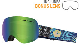 Dragon X1S Ski Goggles - Aloha / Lumalens Green Ion + Dark Smoke
