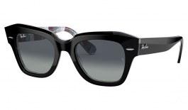 Ray-Ban RB2186 State Street Sunglasses - Black on Texture Print / Light Grey Gradient