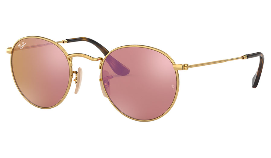 Ray-Ban RB3447N Round Metal Flat Lens Sunglasses - Gold / Copper Flash