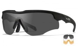 Wiley X Rogue Prescription Sunglasses - Clip-On Insert - Matte Black / Smoke Grey + Clear + Light Rust