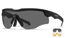 Wiley X Rogue COMM Prescription Sunglasses - Clip-On Insert - Matte Black / Smoke Grey + Clear + Light Rust