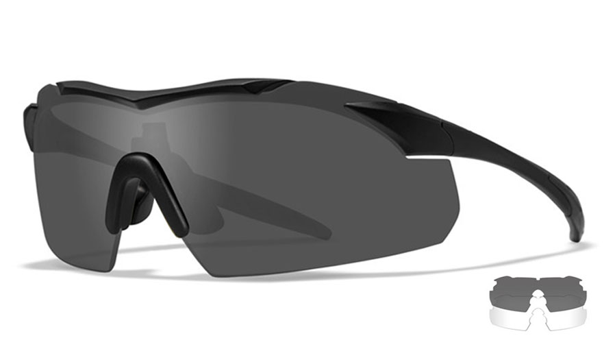 Wiley X Vapor Sunglasses - Matte Black / Smoke Grey + Clear