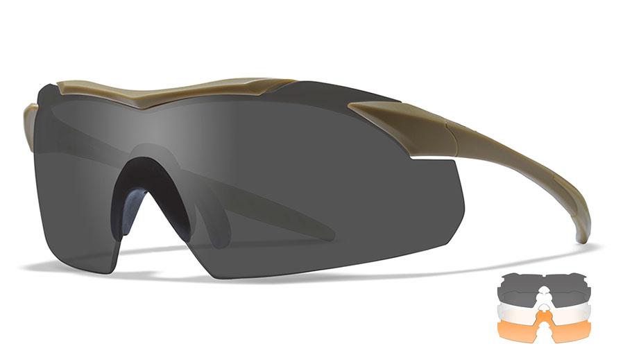 Wiley X Vapor Sunglasses - Matte Tan / Smoke Grey + Clear + Light Rust