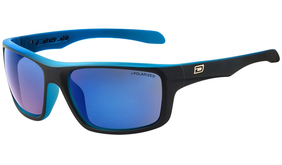 Dirty Dog Axle Sunglasses - Satin Black & Crystal Blue / Grey Polarised w/Blue Mirror