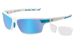 Dirty Dog Sport Evolve X1 Sunglasses - Satin White / Grey Polarised with Ice Blue Mirror & Clear