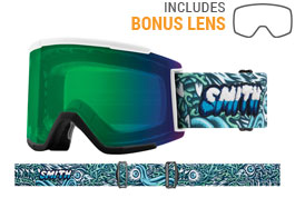 Smith Optics Squad XL Ski Goggles - Tall Boy / ChromaPop Everyday Green Mirror + ChromaPop Storm Rose Flash