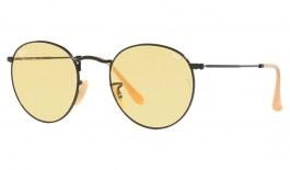 Ray-Ban RB3447 Round Metal Sunglasses - Matte Black / Evolve Yellow Photochromic