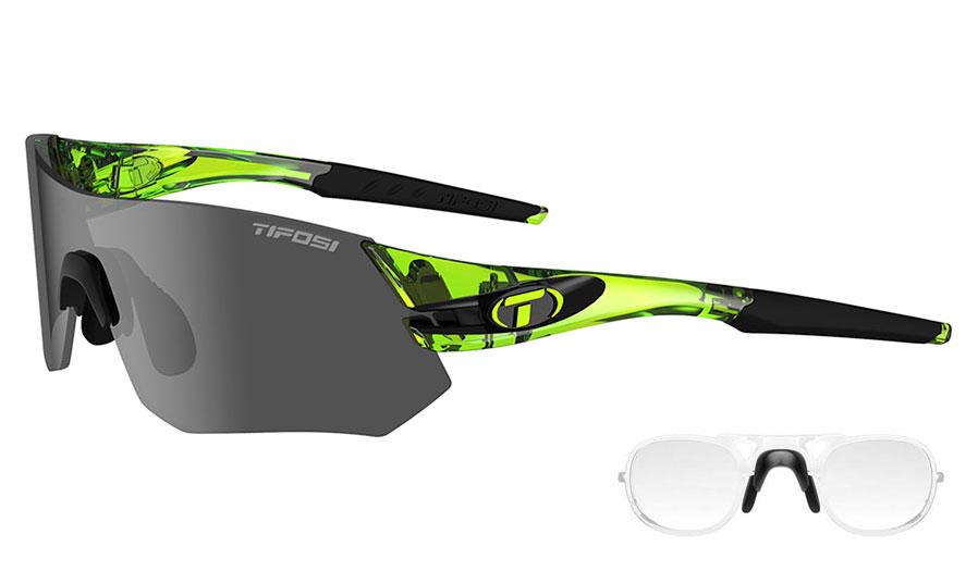 Tifosi Tsali Prescription Sunglasses - Clip-On Insert - Crystal Neon Green / Smoke + AC Red + Clear