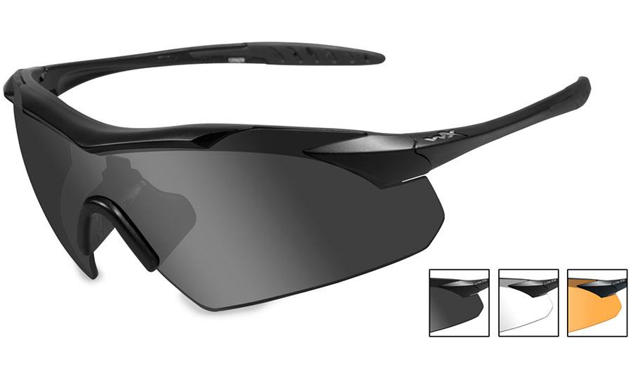 Wiley X Vapor Sunglasses - Matte Black / Smoke Grey + Clear + Light Rust