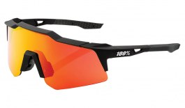 100% Speedcraft XS Sunglasses - Soft Tact Black / HiPER Red Multilayer Mirror + Clear
