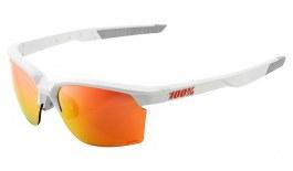 100% Sportcoupe Sunglasses - Matte White / HiPER Red Multilayer Mirror + Clear