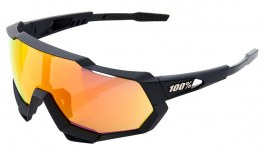 100% Speedtrap Sunglasses - Soft Tact Black / HiPER Red Multilayer Mirror + Clear