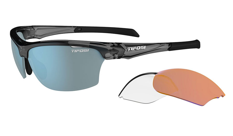 Tifosi Intense Sunglasses - Crystal Smoke / Clarion Blue + AC Red + Clear