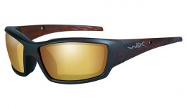 Wiley X Tide Sunglasses - Matte Hickory Brown / Amber Venice Gold Mirror Polarised