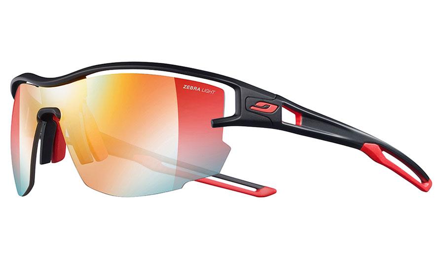 Julbo Aero Sunglasses - Matte Black & Red / Reactiv Performance 1-3 Light Amplifier Photochromic
