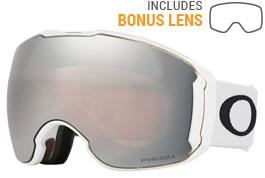 Oakley Airbrake XL Ski Goggles - Polished White / Prizm Black Iridium + Prizm HI Pink Iridium