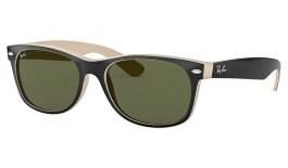 Ray-Ban RB2132 New Wayfarer Sunglasses - Black on Beige / G-15 Green