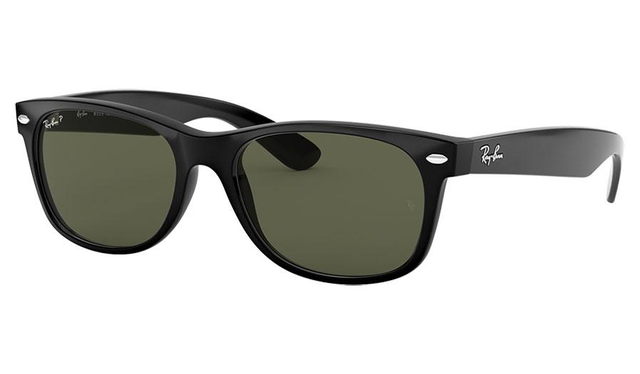 Ray-Ban RB2132 New Wayfarer Sunglasses - Black / Green Polarised