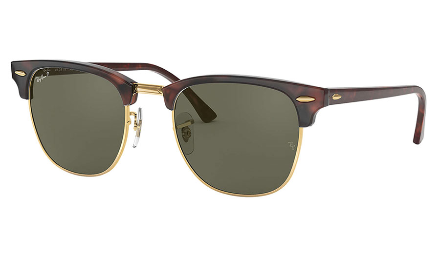 Ray-Ban RB3016 Clubmaster Sunglasses - Red Havana / Green Polarised