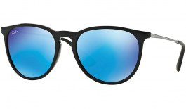Ray-Ban RB4171 Erika Sunglasses - Gloss Black / Light Green w/Blue Mirror