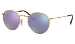 Ray-Ban RB3447N Round Metal Flat Lens Sunglasses - Gold / Lilac Flash