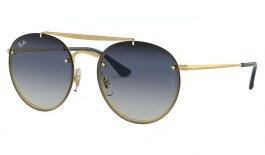 Ray-Ban RB3614N Blaze Round Double Bridge Sunglasses - Gold / Blue Gradient Mirror