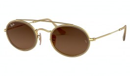 Ray-Ban RB3847N Oval Double Bridge Sunglasses - Gold / Brown Gradient