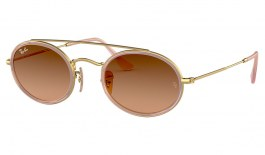 Ray-Ban RB3847N Oval Double Bridge Sunglasses - Gold & Transparent Pink / Brown Gradient