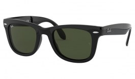 Ray-Ban RB4105 Folding Wayfarer Sunglasses - Black / Green