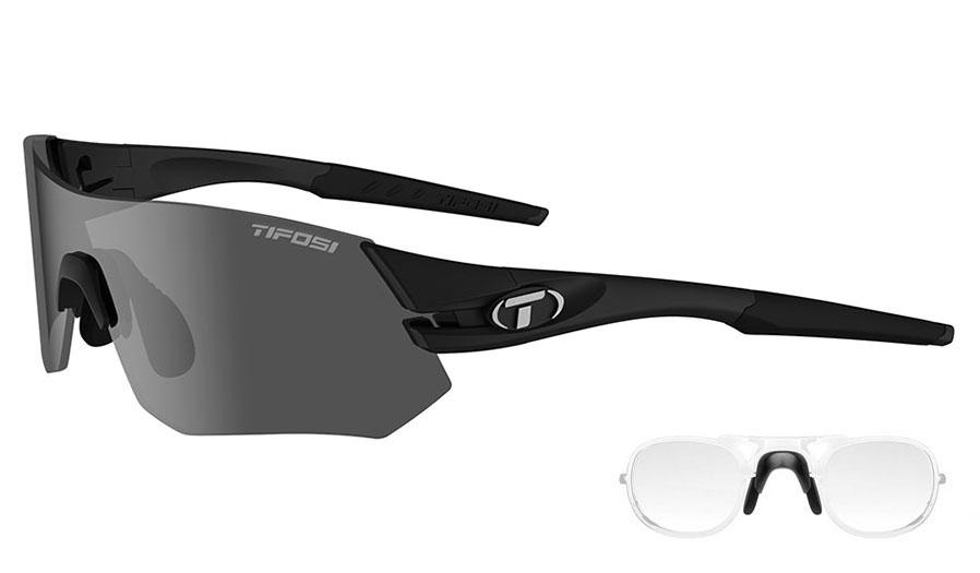 Tifosi Tsali Prescription Sunglasses - Clip-On Insert - Matte Black / Smoke + AC Red + Clear