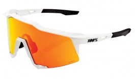 100% Speedcraft Sunglasses - Soft Tact Off White / HiPER Red Multilayer Mirror + Clear