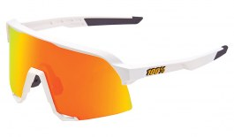 100% S3 Sunglasses - Soft Tact White / HiPER Red Multilayer Mirror + Clear