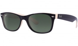 Ray-Ban RB2132 New Wayfarer Sunglasses - Color Mix - Black & Beige / Green (G-15)