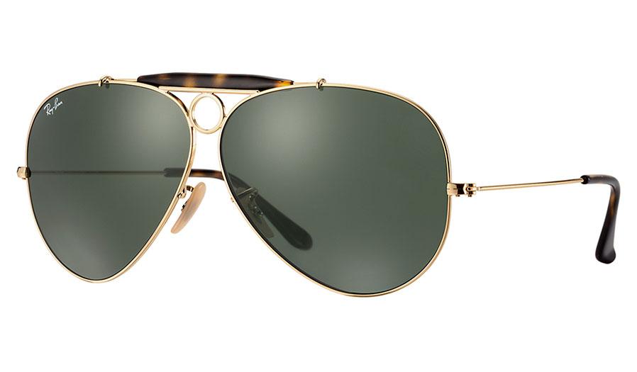 f0cc1c3317 Ray-Ban RB3138 Aviator Shooter Sunglasses - Gold Havana Collection ...