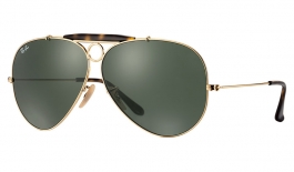 Ray-Ban RB3138 Aviator Shooter Sunglasses - Gold Havana Collection / Green (G-15)